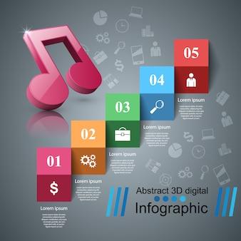 Music 3d digital illustration infographic.