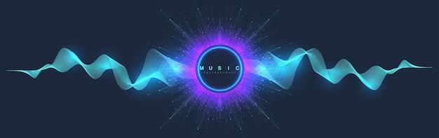 Музыкальный абстрактный фон. дизайн плаката музыкальной волны. звуковой флаер с абстрактными волнами градиентной линии, векторной концепцией.