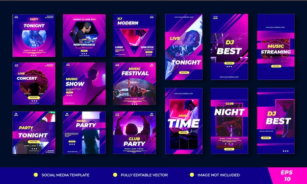 Music ads pack.social media template post and stories