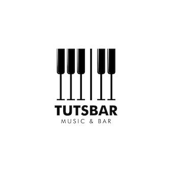 音楽とバーのロゴベクトル