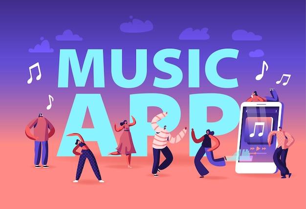 Концепция музыкального приложения. молодые люди в наушниках, слушая звуковые дорожки на мобильном телефоне. мультфильм плоский иллюстрация