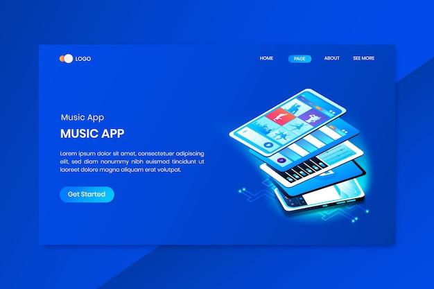 音楽アプリアイソメトリックコンセプトのランディングページ