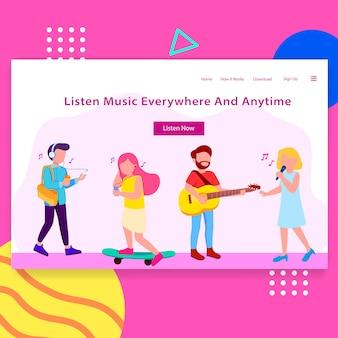 Music app landing page illustration