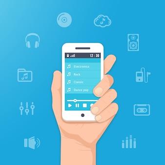 Музыкальное приложение на вашем смартфоне. слушать музыку в руке иллюстрации