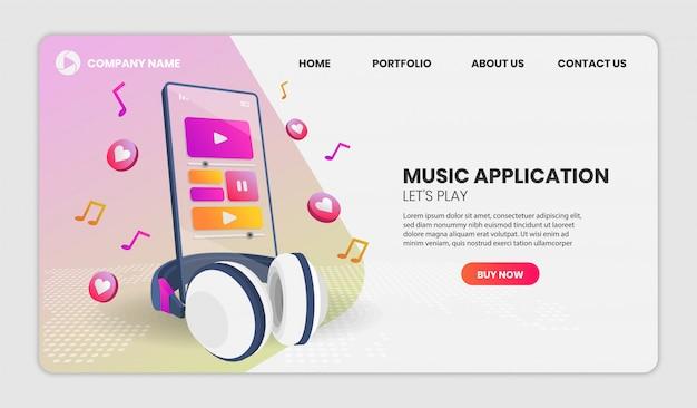 音楽アプリケーションと分析観点ビューの電話。ベクトル3 dイラスト。