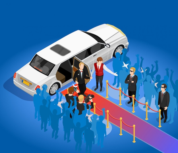 Music award celebrity limousin isometric illustration