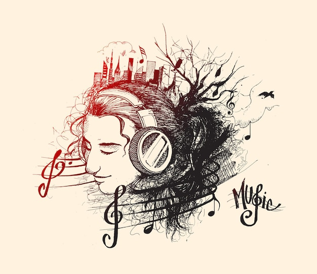 Music background girl listens to music cartoon illustration