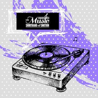 음악 배경입니다. 손으로 그린 일러스트레이션 및 타이포그래피 디자인