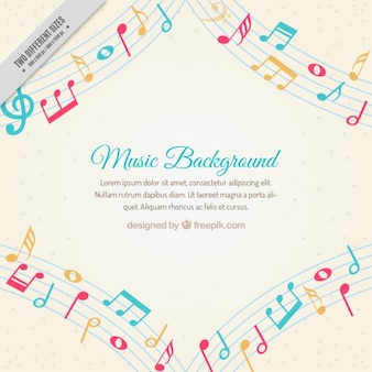 Music background with colored musical notes
