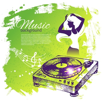 手描きイラストとダンスの女の子のシルエットと音楽の背景。スプラッシュブロブレトロデザイン