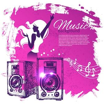 Music background with hand drawn illustration and dance girl silhouette. splash blob retro design