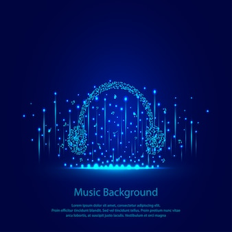 Music background with headphones
