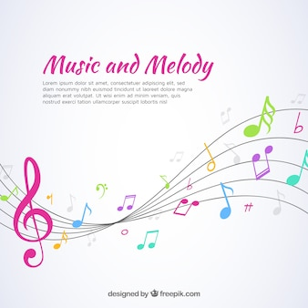 Music background with pentagram and colorful notes