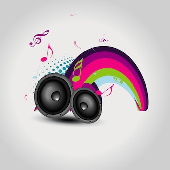Music background with speakers
