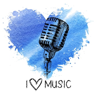 Music background with splash watercolor heart and sketch microphone. hand drawn illustration