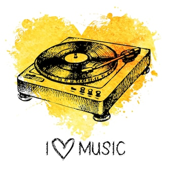 Music background with splash watercolor heart and turntable. hand drawn sketch illustration