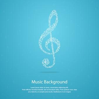 Музыкальный фон со скрипичным ключом