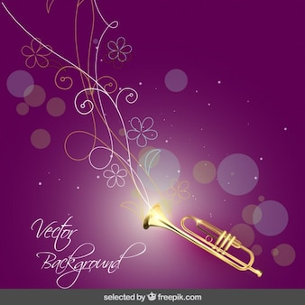 Music background with trumpet and flowers