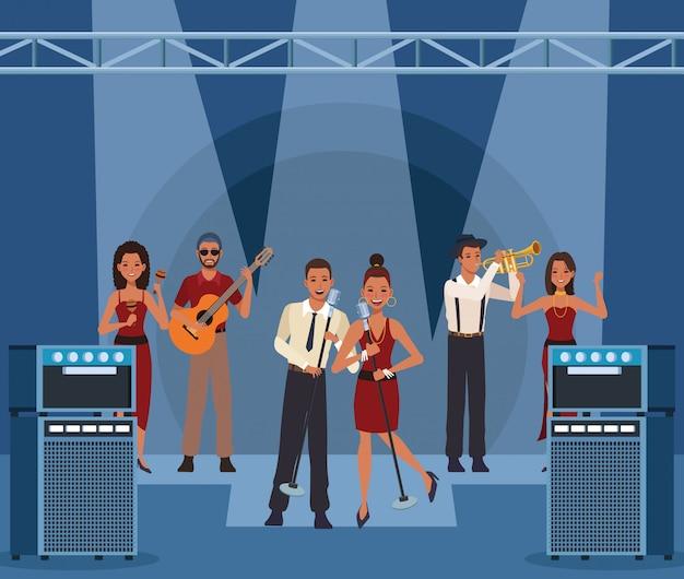 Music band cartoon