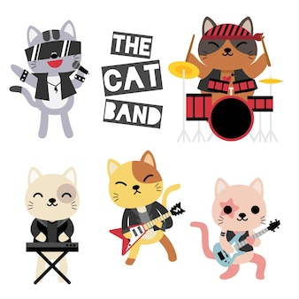 Music band of cats, musician, guitarist, drummer, funny animals