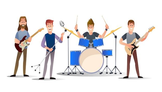평면 만화 일러스트에서 음악 밴드 문자 집합