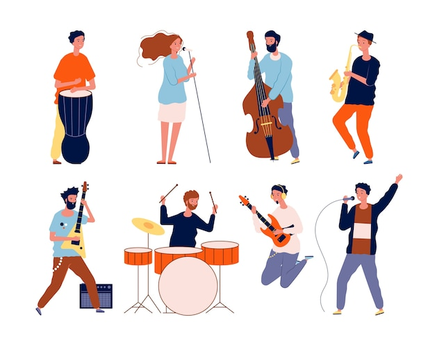 Music band characters. rock group musicians singing and playing at instrument performing stage vector. rock concert, musical band, musician group performance illustration