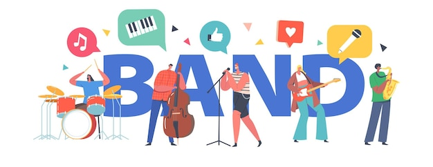 ミュージックバンドのコンセプト。ロックソング、ギター、コントラバス、サックス奏者が同行する楽器を持ったアーティストのキャラクター、ロックコンサートのポスター、バナーまたはチラシ。漫画の人々のベクトル図