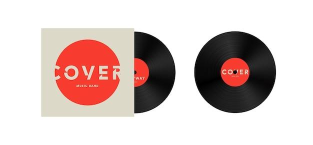 비닐 레코드 벡터 일러스트 템플릿에 음악 밴드 커버 디자인 아이콘 또는 로고를 조롱