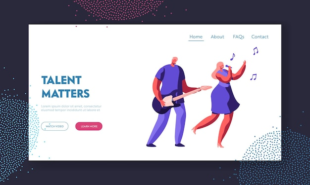 Music band duet performing on stage. young rock guitar player accompany to singing girl during entertainment or talent show. website landing page