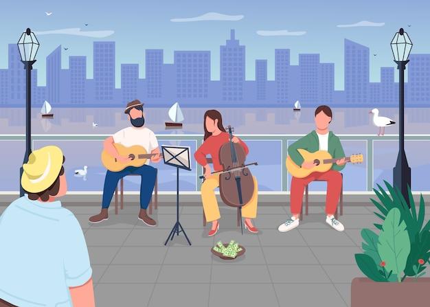 街のフラットカラーイラストの音楽バンド。屋外でのライブパフォーマンス。町の娯楽。都市景観。クラシック音楽家の背景に街並みの2d漫画のキャラクター
