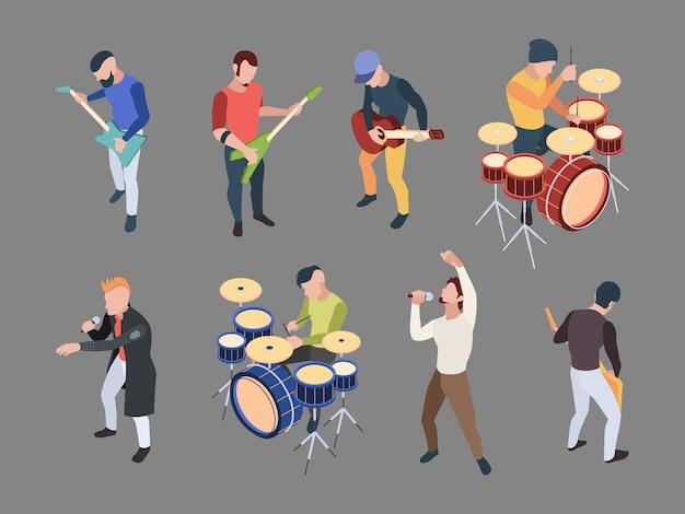 音楽バンド。等尺性のキャラクターミュージシャン歌手マイクロックバンド楽器ベクトル人のイラスト。キャラクターミュージカルバンド、ミュージックロックアイソメトリック