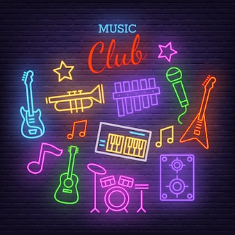 Music band neon icons