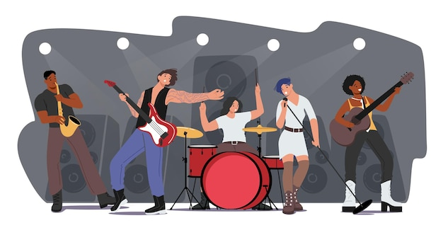 Music band performing rock concert on scene. artists characters with musical instruments, girl singing song, guitar and sax player accompany. talent show on stage. cartoon people vector illustration