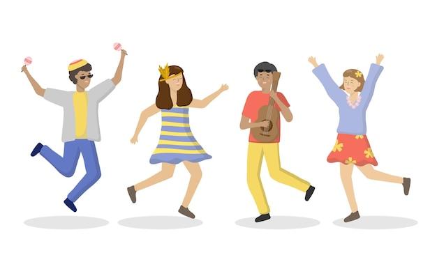 음악 밴드는 생일 파티에서 무대에서 음악을 연주하고 노래합니다. 남성과 여성 캐릭터가 기타를 부르고 연주합니다. 음악, 노래, 밴드, 댄스, 파티 개념. 평면 스타일의 만화 그림