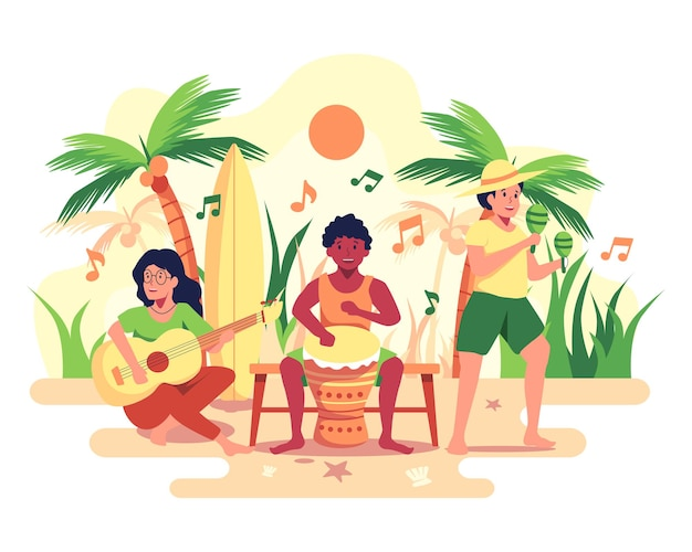 Музыкальная группа играет в вечеринке на пляже.