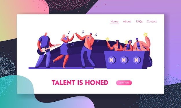 Music band presenting performance on stage in front of judges for audition on talent show. website landing page template