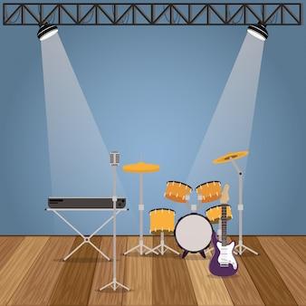 Music band set instruments icons
