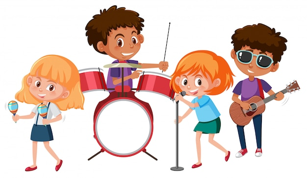 A music band on white backgroud