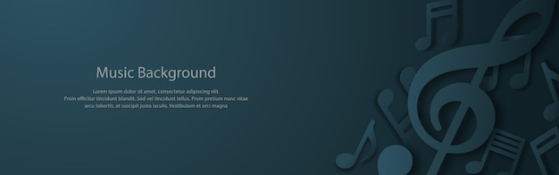 Music banner with musical notes