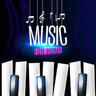 Music banner with piano keys