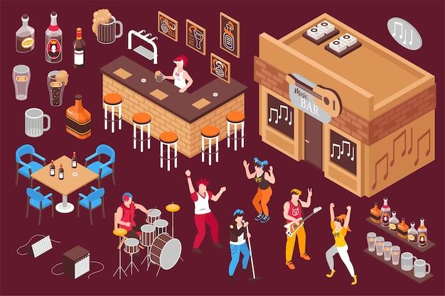 Изометрические элементы музыкального бара с барменом, разливающим пиво, работающими музыкантами и танцующими молодыми людьми