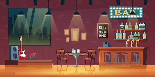 Music bar, pub cartoon  empty interior with illuminated signboard