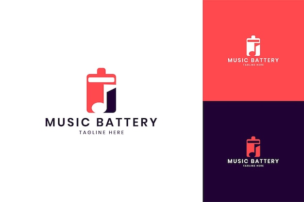 Music battery negative space logo design