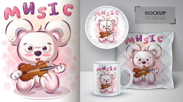 Music bear poster and merchandising