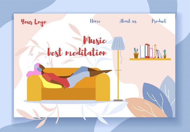 Music best meditation promotion flat landing page