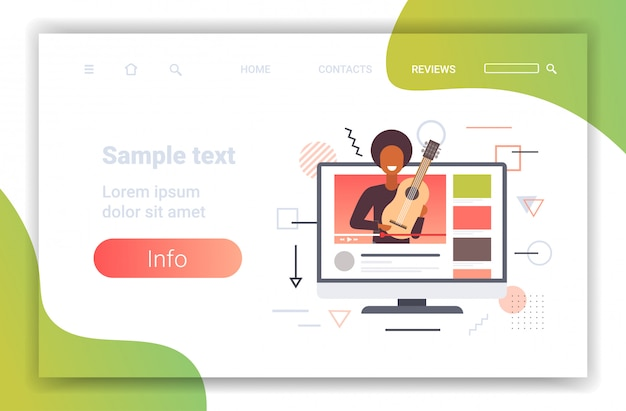 Music blogger playing guitar live streaming musical blog concept african american man guitarist on monitor screen online video player horizontal portrait