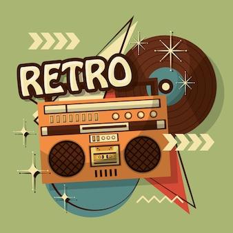Music boombox vinyl disk retro vintage memphis background