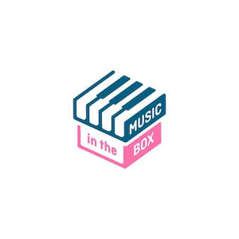 Music box logo, stylized piano keyboard logo and design element. musical theme design concept