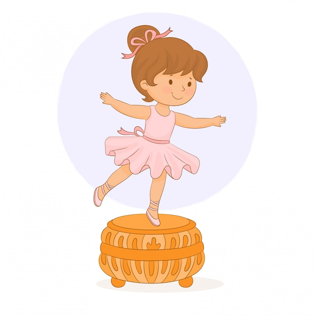 Music box. small baby girl ballerina