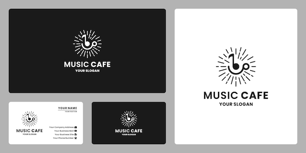 Music cafe logo design retro style. note music with coffee mug combine